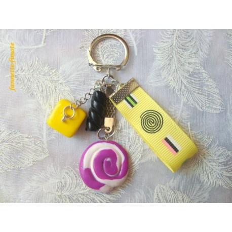 """Porte clé Fimo + Ruban """"Réglisse N°1"""""""