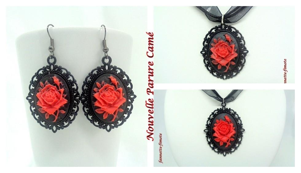 Nouvelle Parure Camé Rose rouge/noir